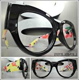 Oversized Exaggerated Floral Cat Eye Lensless Eye Glasses Fr
