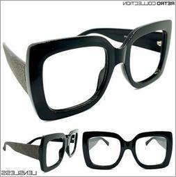 Oversized RETRO Large Square Thick Black Lensless Eye Glasse