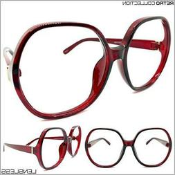 Oversized Retro Lensless Round Eye Glasses Big Large Burgund