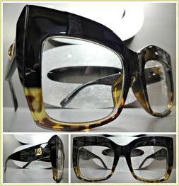 OVERSIZED VINTAGE RETRO CAT EYE Style Clear Lens EYE GLASSES