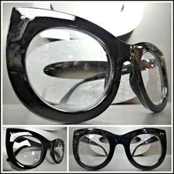 Oversized Vintage Retro Style Clear Lens EYE GLASSES Thick B