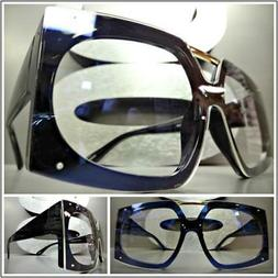 OVERSIZED VINTAGE RETRO Style Clear Lens EYE GLASSES Large B
