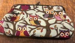 "Owl Printed 7x4"" Change Eyeglass Receipt Purse Snap Closur"