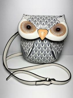 Owl Purse White Faux Leather Glass Eyes Adjustable Strap Cro