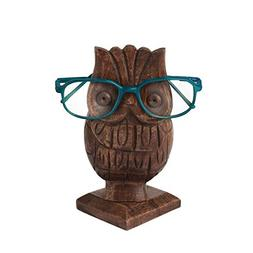 storeindya Thanksgiving Gifts Wooden Owl Shaped Eyeglass Hol