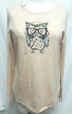 Ann Taylor Owl w/ Eye Glasses knit sweater top NEW NWT Size