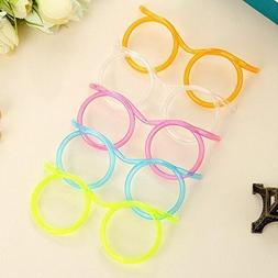 Party Supplies, Fun Party Drinking Straw Eye Glasses 5 Piece