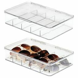 mDesign Plastic Eye Glasses Storage Organizer Box, 5 Section