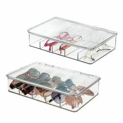 mDesign Plastic Glasses Storage Organizer Box, 5 Sections