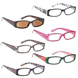 GAMMA RAY 6 Pairs Beautiful Spring Loaded Readers Reading Gl