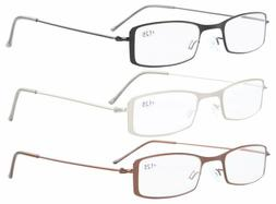 Reading Glasses 3-Pack Lightweight Stainless Steel Frame Hal