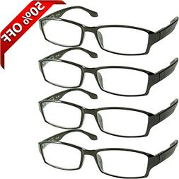 Reading Glasses 1.5 4 Pack Black Readers For Men & Women - S