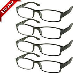 Reading Glasses 2.25 4 Pack Black Readers For Men & Women -