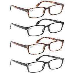READING GLASSES 4 Pack Spring Hinge Comfort Readers Plastic