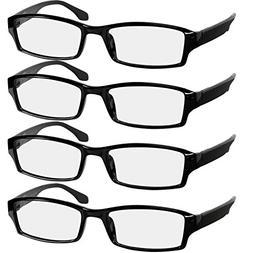 Reading Glasses 1.75 4 Pack Black Readers For Men & Women -