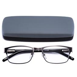 Reading Glasses Readers Metal Deluxe Rectangular gun Frame B