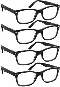 Reading Glasses Set of 4 Black Quality Readers Spring Hinge