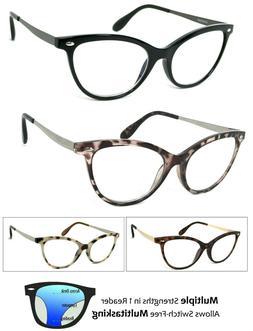 Retro Cat Eye Progressive Reading Glasses 3 Strengths in 1 R