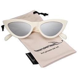 AMOMOMA Retro Vintage Narrow Cat Eye Sunglasses for Women Cl