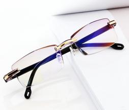 Rimless Reading Glasses HD Lens Anti Blue Light Computer Eye