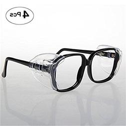VIEEL 4 Pieces Slip On Clear Side Shields for Safety Glasses
