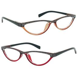 Small Cat Eye Reading Glasses 4 Color Choice Rhinestone Read
