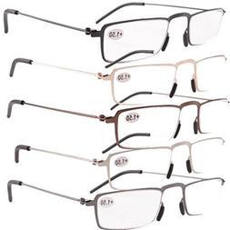 Eyekepper 5-Pack Thin Stamped Metal Frame Half-eye Style Rea