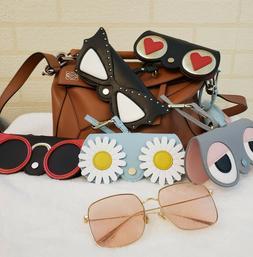 Handmade Sun Eye Glasses Box Animal Case PU Leather Eyewear