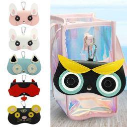 Sunglasses Case Women PU Leather Cartoon Eyes Glasses Storag