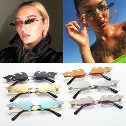 Unisex Fire Shape Sunglasses Frameless Eye Mirror Sun Glasse