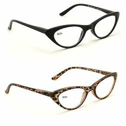 V.W.E. 2 Pairs Deluxe Female Cateye Vintage Reading Glasses