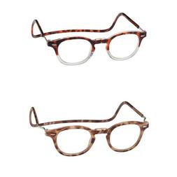 Clic Vintage Oval Magnetic Reading Glasses Front Connect Rea