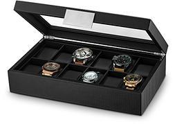 Glenor Co Watch Box for Men - 12 Slot Luxury Carbon Fiber De