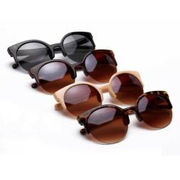 Women Cat Eye Retro Vintage Round Sunglasses Glasses Eyewear