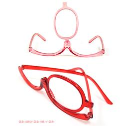 Women Makeup Magnifying Reading Glasses Flip Make Up Eye Gla