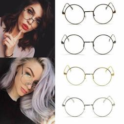 Women Men Large Oversized Metal Frame Clear Lens Retro Round