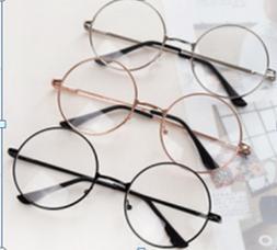 Women Men Vintage Retro Eyewear Metal Frame Clear Lens Round