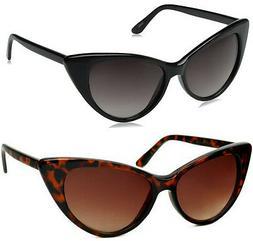 Women's Black Cat Eye Sunglasses Retro Fashion Classic Glass