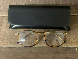TIJN Women's Eyeglasses Glasses Frames Tortoise/Gold w/ Case