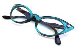 Women's small Cat Eye Vintage Clear Lens Eye Glasses Turquoi