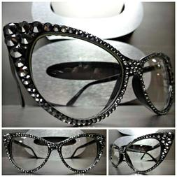Women's VINTAGE CAT EYE Clear Lens EYE GLASSES FRAMES Hemati