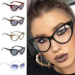 Women Sexy Clear Lens Cat Eye Glasses Frame Luxury UV Protec