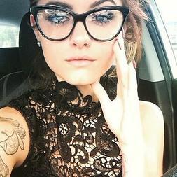 Womens Black Hot Fashion Clear Lense Nerd Geek Glasses Retro