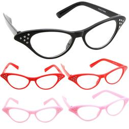 Womens Cat Eye Glasses Rhinestone Sunglasses 50s Retro Vinta