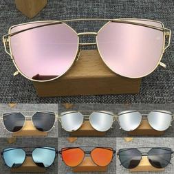 Women's Flat Lens Mirrored Metal Frame Glasses Oversized C