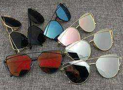 Women's Flat Lens Mirrored Metal GOLD Frame Glasses Oversi