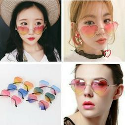 Women's Heart Vintage Mirror Bicolor Lens Sunglasses Retro