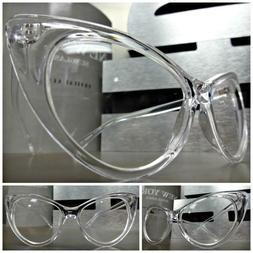 Womens VINTAGE 60's RETRO CAT EYE Style Clear Lens EYE GLASS
