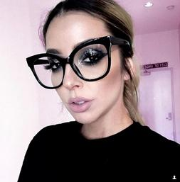 XXL OVERSIZED Cat Eye MISS GORGEOUS  Clear Lens Eyeglasses G